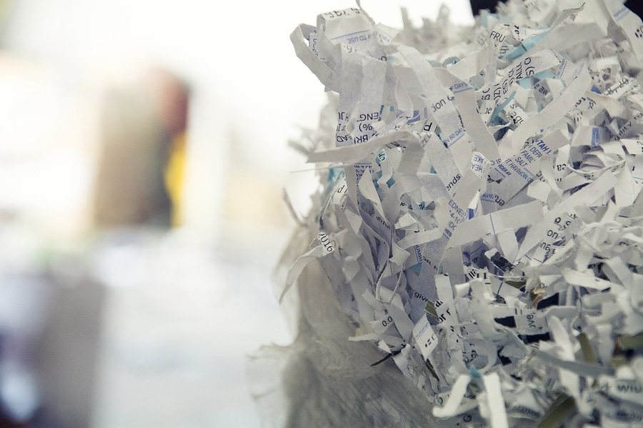 shreded paper ready to be recycled