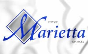 3D Emblem of Marietta (Georgia), USA. 3D Illustration.